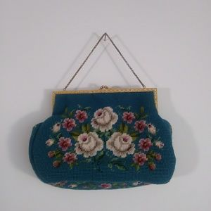 Vintage 50s knit tapestry crochet blue purse